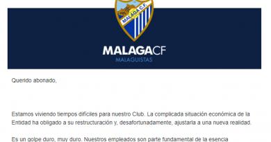 """El Málaga, en una carta a sus abonados: """"El camino va a ser complicado"""""""